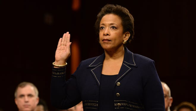 Attorney general nominee Loretta Lynch is sworn in at her confirmation hearing before the Senate Judiciary Committee on Jan. 28.
