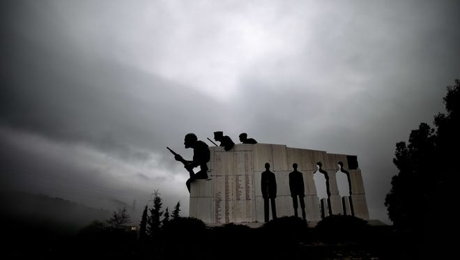 The memorial for the victims of Distomo massacre perpetrated by Nazis during World War II is shown on March 26, 2015 in the small town of Distomo, Greece.