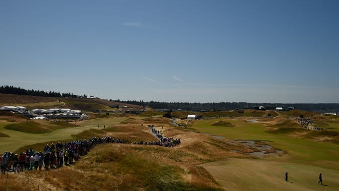 General view of the 11th hole during practice rounds on Wednesday at Chambers Bay.