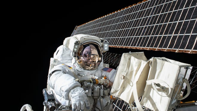The solar panels on the International Space Station are very reflective.