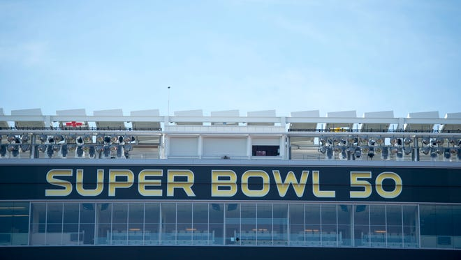General view of the press box roof during a field preparation press conference prior to Super Bowl 50 at Levi's Stadium.