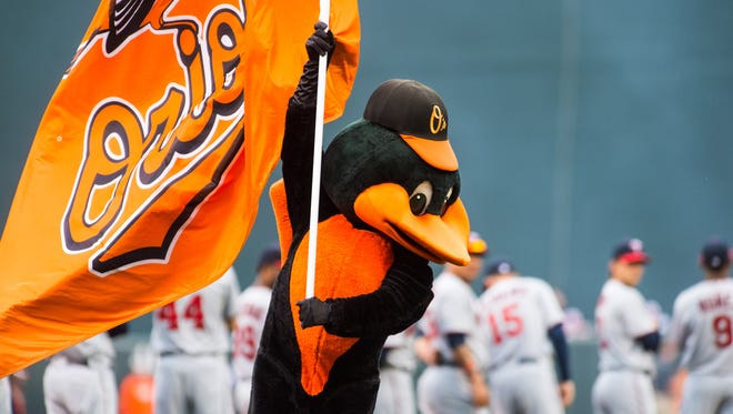 The Oriole bird is introduced at Oriole Park at Camden Yards on Monday, April 4 in Baltimore.