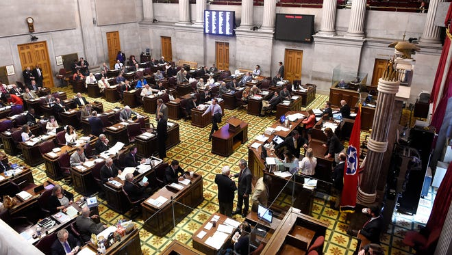 Legislators conduct business in the final days of the 2016 legislative session on April 19.