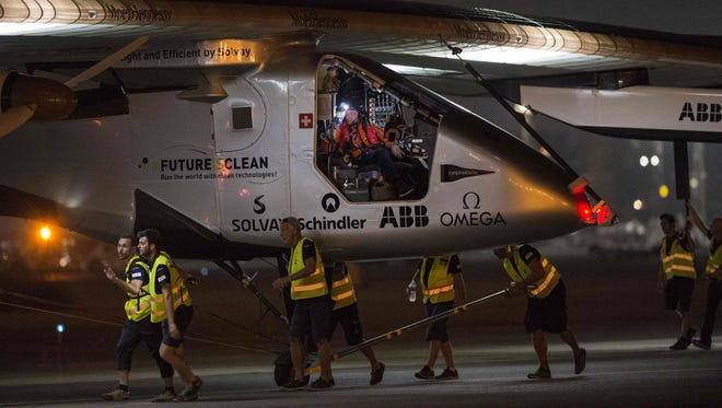 The solar-powered Solar Impulse 2 aircraft prepares to take off from Cairo International Airport in the Egyptian capital on July 24, 2016, as it heads to Abu Dhabi on the final leg of its world tour.