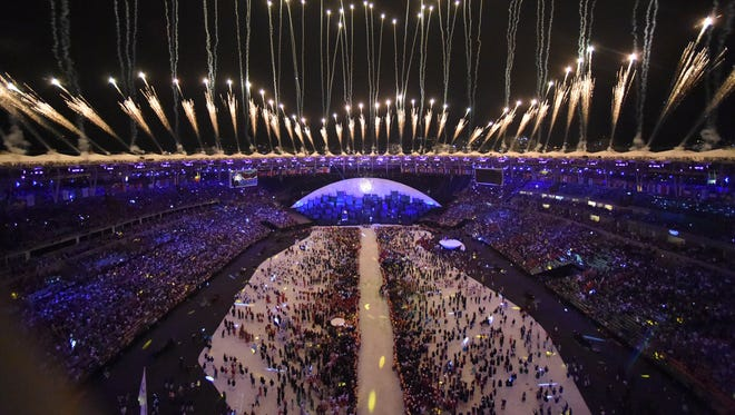 A general view of the fireworks and lighting of the Olympic cauldron of the opening ceremony for the Rio 2016 Summer Olympic Games at Maracana Stadium.