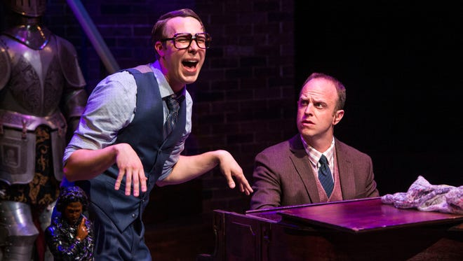 """John Wascavage plays The Suspects and Paul Helm plays Marcus Moscowicz in the Utah Shakespeare Festival's 2016 production of """"Murder for Two."""""""