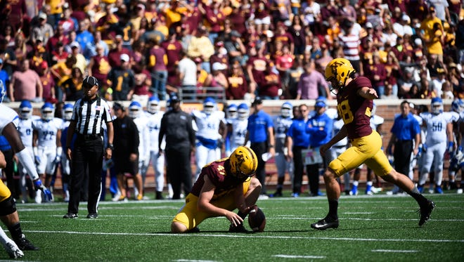 Minnesota kicker and Ashwaubenon alum Emmit Carpenter makes a field goal against Indiana State on Sept. 10. Carpenter leads the Big Ten with 16 field goals this season.