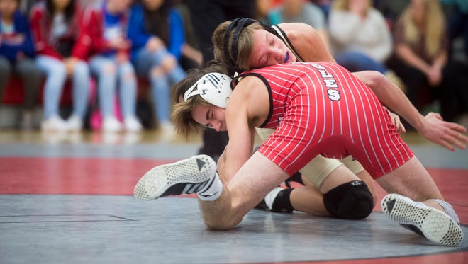 Bermudian Springs' Landon West wrestles Delone Catholic's A.J. Knobloch in the 120-pound bout of the District 3 Class 2A quarterfinal on Wednesday. Bermudian defeated Delone 51-20.