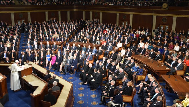 Pope Francis addresses a joint session of Congress on Sept. 24, 2014 in Washington.