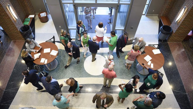 File / Samuel M. Simpkins/ The Tennesse Visitors tour the campus at the grand opening of Columbia State Community College?s new Williamson campus June 22, 2016. Visitors tour the campus at the grand opening of Columbia State Community College's new Williamson campus June 22, 2016 in Franklin, Tenn.
