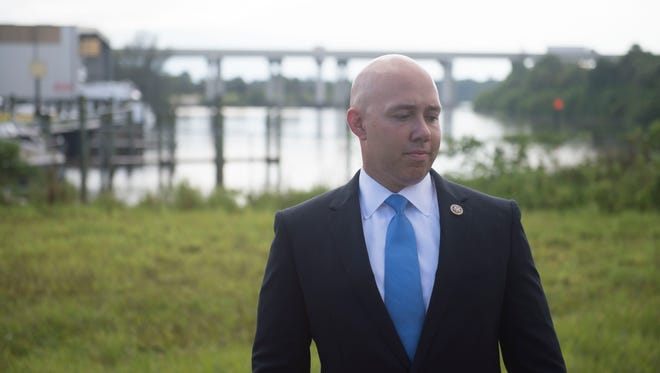 "U.S. Rep. Brian Mast introduces a new piece of legislation called the Harmful Algal Blooms Solutions Act on Wednesday, Aug. 16, 2017 at a news conference at American Custom Yachts in Stuart. The bill will reward those who develop technology that could clean up algae in large bodies of water. ""There's not much good about harmful algal blooms,"" Mast said, but believes this bill will positively influence not only Martin County, but other areas in the country that suffers from algae blooms."