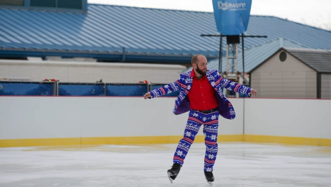 """Peter Briccotto, tests out the """"Visit Delaware Ice Rink"""" at the Winter Wonderfest Center located at the Cape May-Lewes Ferry Terminal and also in the Cape Henlopen State Park. That will run Nov. 17 to December 31, 2017."""