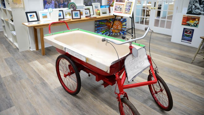 Jesse Turner's award winning bathtub racer can now be seen at the Berlin's Welcome Center on Main Street. Tuesday, Jan. 23, 2018.