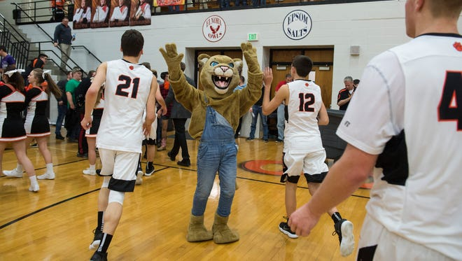 The North Daviess' mascot high fives the team as they come off the court at North Daviess High School on Friday, Feb. 16, 2018. North Daviess defeated White River Valley 38-23.