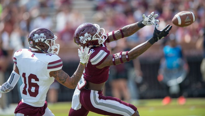 Mississippi State's Reggie Todd tries to catch a pass during the Maroon & White spring game.