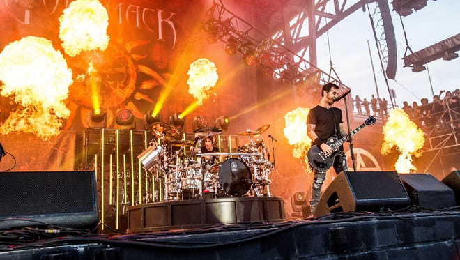 Shannon Larkin, left, and Sully Erna of Godsmack perform at the Rock On The Range Music Festival at Mapfre Stadium on Sunday, May 20, 2018, in Columbus, Ohio. (Photo by Amy Harris/Invision/AP)