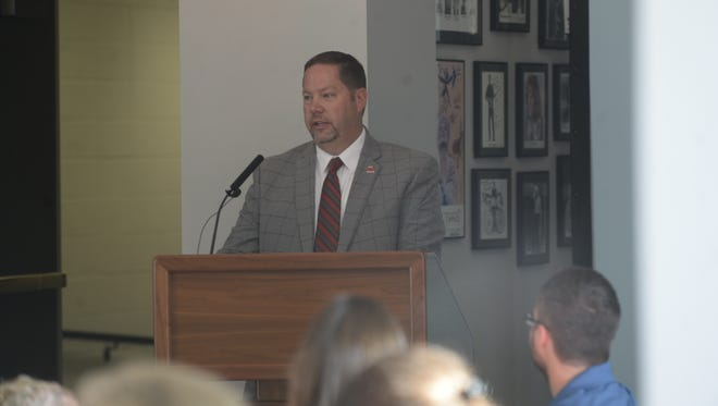 Richmond Community Schools Superintendent Todd Terrill presents the district's annual State of the Schools report Monday morning at Civic Hall.