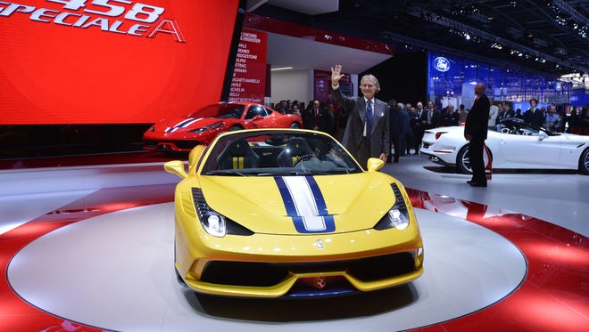 Outgoing CEO of Ferrari Luca di Montezemolo is pictured during the presentation of the new Ferrari 458 M at the 2014 Paris Auto Show on Oct. 2, 2014.