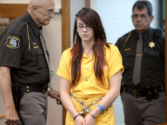 Samantha Grigg is brought into Clinton County Circuit Court in St. Johns  before being sentenced in the death of Dustyn Frolka.  File photo by Greg DeRuiter