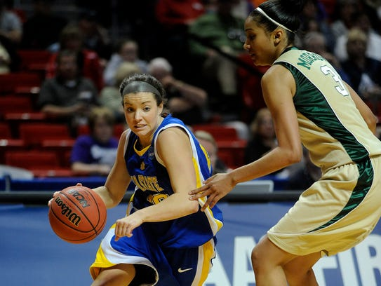 Jill Young of SDSU dribbles past Jessica Morrow of
