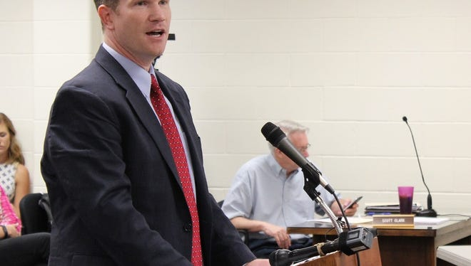 Clint Kaho, vice president of Baptist Health Louisville, speaks to the Floyd County Council, Floyd County Commissioners and the Floyd Memorial Hospital Board of Trustees Tuesday night.