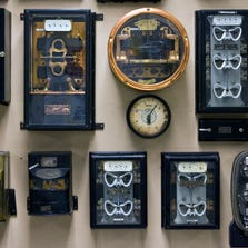"""Traditional electricity meters like the ones pictured here are being phased out. APS and SRP have been replacing commercial and residential customers' electricity meters with new """"smart"""" meters that can tell the utilities exactly how much electricity each site is using at the moment."""