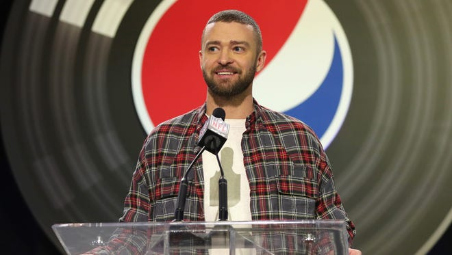 Recording artist Justin Timberlake speaks onstage at the Pepsi Super Bowl LII Halftime Show press conference on Feb. 1 in Minneapolis.
