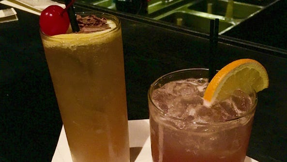 Cider sangria (left) and a maple gin and tonic at The