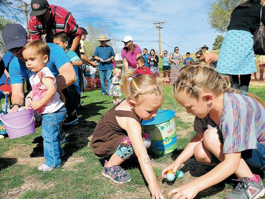 Kids scramble for eggs at an annual Easter egg hunt. Candy, prizes, visits from the Easter Bunny and other Easter surprises are planned. All egg hunts will take place on Saturday.