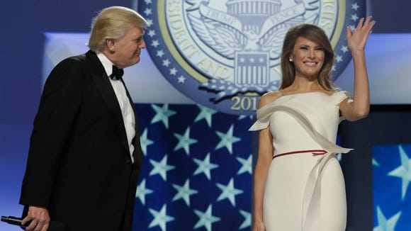 First lady Melania Trump acknowledges supporters before
