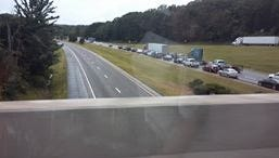 Traffic backed up at 163 exit, I-40 westbound after fatal collision Friday afternoon involving tractor trailer.