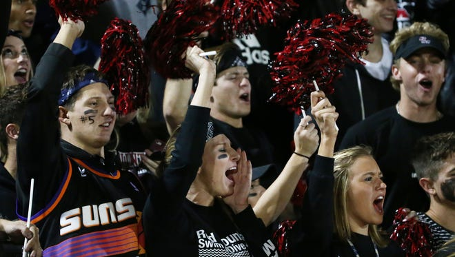 Mesa Red Mountain students cheer during the 6A semifinals action played at Tempe McClintock High on Nov. 18, 2016 in Tempe, Ariz.
