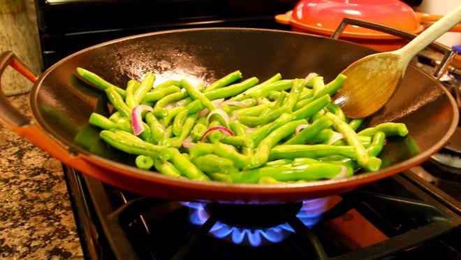 Andrew Boks' Stir-Fried Blue Lake Gush Beans with Onion and Ginger.