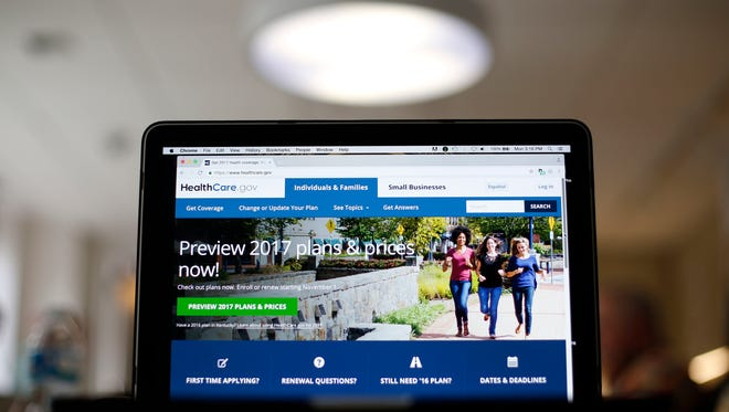This Oct. 24, 2016, photo shows the HealthCare.gov 2017 website home page on a laptop in Washington. Health insurance costs will be on the rise again in 2017, just like they have been for several years now.