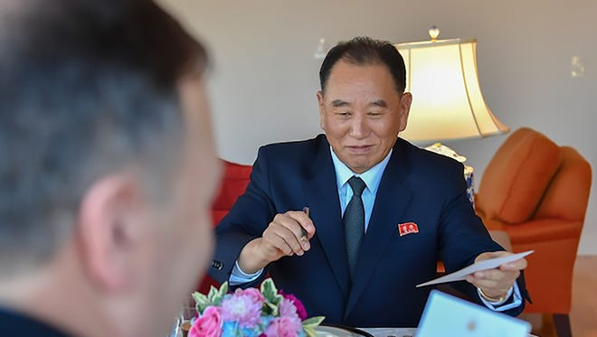 This handout photograph obtained courtesy of the Department of State shows Kim Yong Chol, Vice Chairman of North Korea, during his dinner meeting with Secretary of State Mike Pompeo on May 30, 2018 in New York.