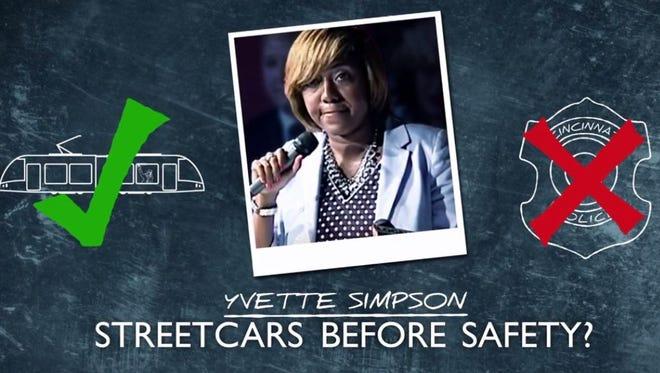 Mayor John Cranley attacks Yvette Simpson's pro-streetcar record in his latest campaign ad.