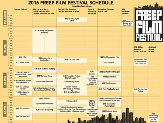 The Freep Film Festival schedule for 2016.