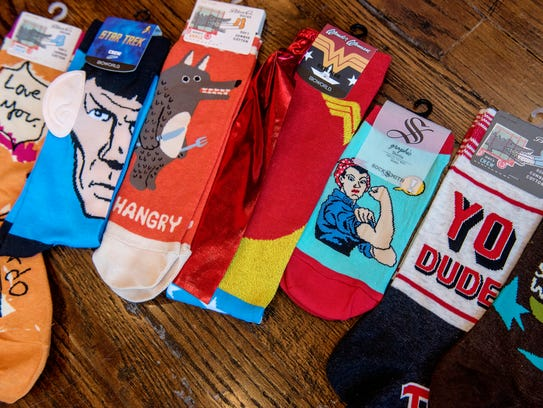 Grace Boutique offers many kinds of zany socks, including