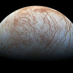 A November 1996 image of Europa taken by the Galileo spacecraft.