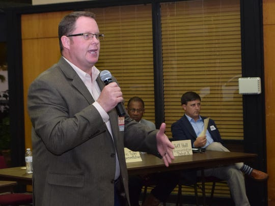 Billy Burns, a Rapides Parish sheriff candidate, addresses the audience during a forum Thursday in Pineville.