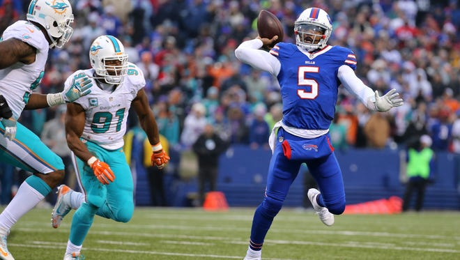 """Tyrod Taylor played his best game as a Buffalo Bill against the Miami Dolphins on Dec. 24 and then was benched as part of a """"business decision"""" for Sunday's season finale at the Jets."""