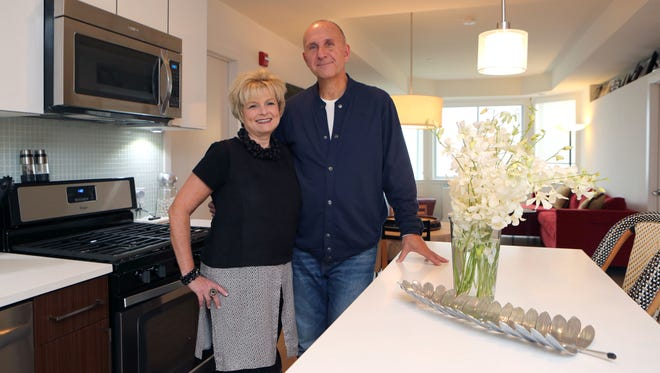 Mindy and Ken Andrusko are pictured in their rental apartment at Harbor Square in Ossining, Oct. 21, 2016. They moved from a house in Chappaqua to the apartment in Ossining in August.