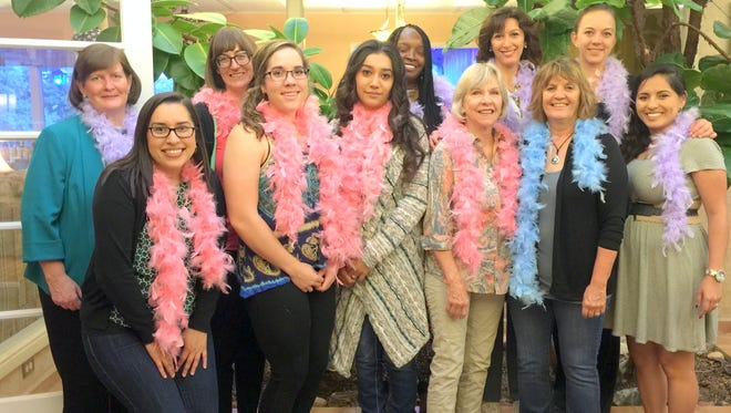From left, in the back row, are Dr. Brenda Findley, Dr. Allison Evans, Debra Brundage, Marcela Shepard, 24 Club President and Chairwoman of the Scholarship Committee; and Chelsea Hotchkiss, Scholarship Committee Co-Chair. Front row, from left, are Frida Gonzales, scholarship recipient Emma Head, scholarship recipient Samantha Gomez, Dixie Dexter, Denise Miller and Vanessa Stroman.