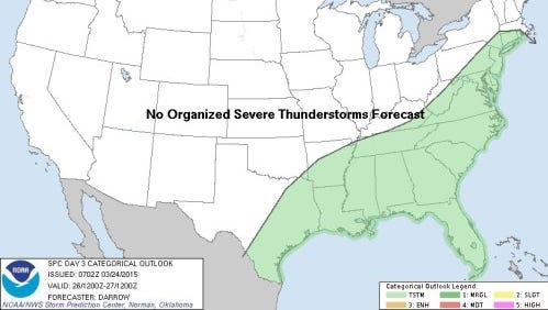The green area means thunderstorms are possible in New Jersey on Thursday