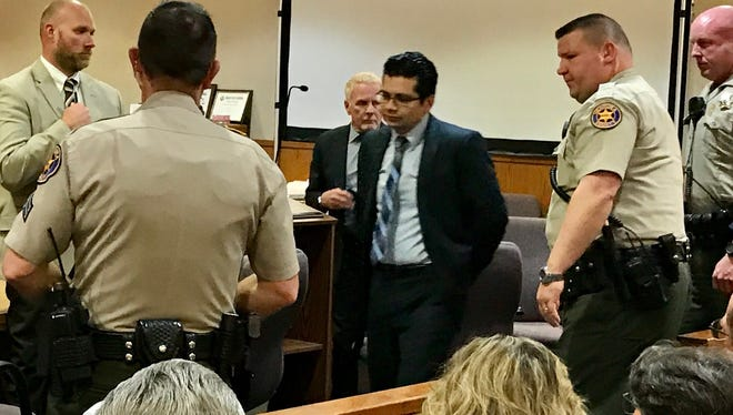 Marco Casillas, center, was found guilty of first-degree murder last month.