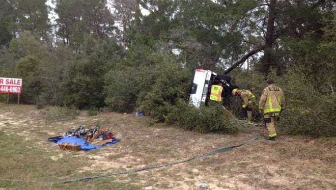 A rollover crash injured one in Titusville on Saturday.