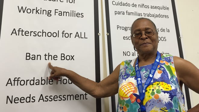 """Pictured last year is Ban the Box advocate Sandy Jones of Yonkers, a member of Community Voices Heard, which has lobbied for """"ban the box"""" in Westchester, White Plains and Yonkers."""