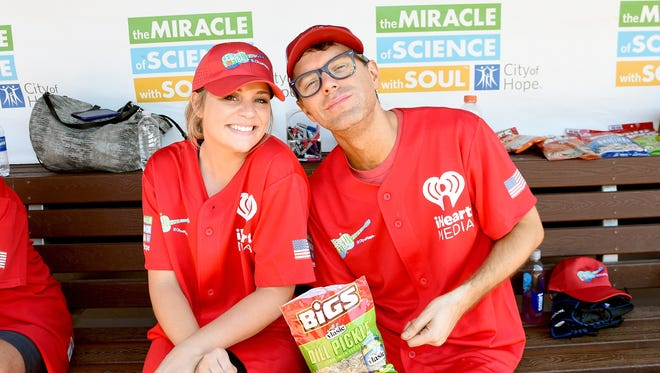 Lauren Alaina and Bobby Bones participate in 28th Annual City of Hope Celebrity Softball Game on June 9, 2018 in Nashville.