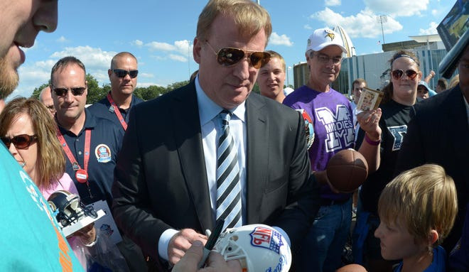 Roger Goodell, at the Hall of Fame last month, announced Wednesday a $10 million incentive program to help find better shock absorbent materials for helmets
