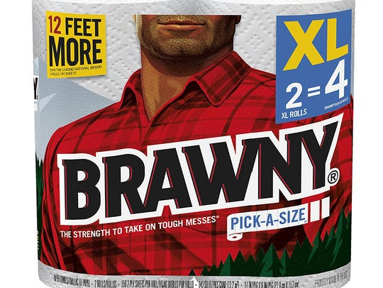 We seldom see the Brawny guy's face.